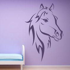 Horse Head Outline Farmyard Animals Wall Sticker Wall Art Decal