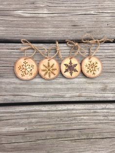 Set of 4 Snowflake Wood Burned Ornaments