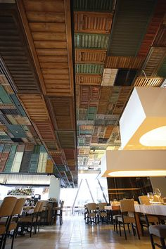 In Sacramento, California, the shutter-covered ceiling and walls of Ella Dining Room and Bar.