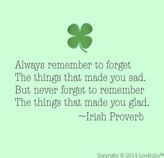 Always remember to forget the things that made you sad.  But never forget to remember the things that made you glad - Irish proverb