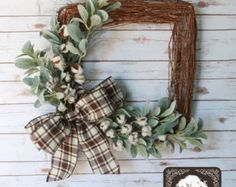 Cotton Wreath Cotton Boll Wreath Preserved by TheSeptemberTree