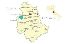 Map of Umbria showing the cities in central Italy to visit; Umbria is Tuscany without the crowds and Italy's green heart.