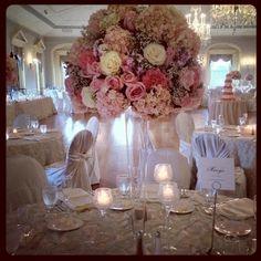 Topiary high wedding centerpiece