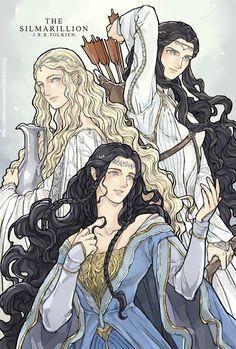 Aredhel, Galadriel and Lúthien by ChoiStar #silmarillion #fanart