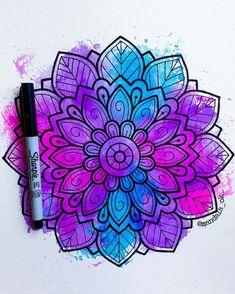 Graph Paper Drawings, Zentangle Drawings, Art Drawings, Flower Drawings, Mandala Art Lesson, Mandala Doodle, Zen Doodle, Sharpie Art, Sharpie Doodles