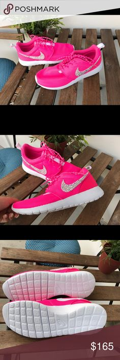 ONE OF A KIND hot pink nikes ✨ These are one of a kind customized hot pink nikes. Size 6. Very glam with crystals on the Nike swoosh ✨ Nike Shoes Athletic Shoes