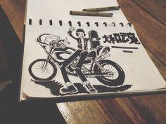 Bosozoku motorcycle ilustration art