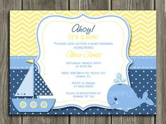 Printable Nautical Sailboat Baby Shower Invitation | Whale | FREE thank you card included | Party Package Decorations Available | www.dazzleexpressions.com