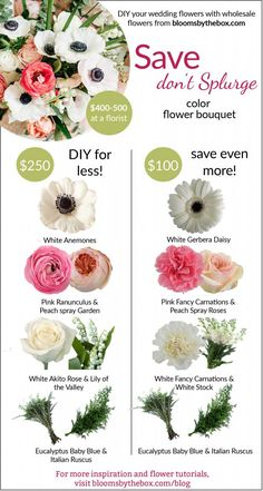"Save, don't splurge! DIY your flowers for your wedding day and make a beautiful anemone, ranunculus bouquet. Flowers are a big and important part of your wedding day and can become costly. Figuring out where you're going to ""save or splurge"" in your wedding budget is important."