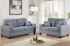 Aria Linen-Like 2 Piece Sofa and Loveseat Set, Grey