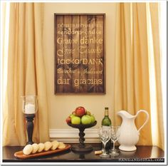 Thanksgiving Subway Art {Pottery Barn Inspired} by Sand & Sisal. Say Give Thanks in 9 languages. Fall Crafts, Diy Crafts, Holiday Crafts, Diy Thanksgiving, Thanksgiving Appetizers, Pottery Barn Inspired, Subway Art, Give Thanks, Pottery Art