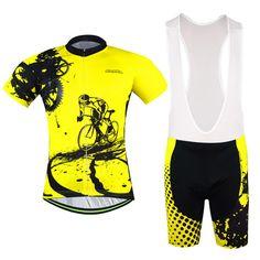 Aogda Yellow Men Cycling Jersey Bib shorts Sets Bike Clothing Suits Bicycle Top Bottom Pro Cycling Wear Shirts mtb Clothes