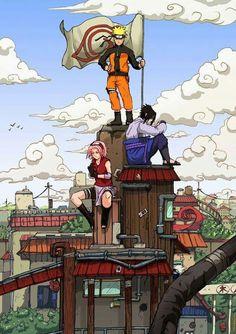 Naruto, Sakura and Sasuke in the Leaf Village (Konoha) wallpaper Naruto Shippuden, Boruto, Naruto E Sasuke, Kakashi Sensei, Naruto Sasuke Sakura, Shikamaru, Gaara, Narusaku, Naruto Team 7