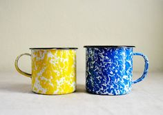 Pair of Marbled Enamelware Mugs - Blue and Yellow