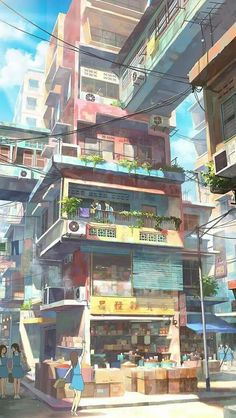 Illustrator Chong Fei Giap from Malaysia draws these great pictures. From an Asian city with a suburb full of little colorful houses. The houses are stacked on top of each other, connected in between with other houses and then there is still driving Sf Wallpaper, Scenery Wallpaper, Environment Concept Art, Environment Design, Fantasy Landscape, Fantasy Art, Landscape Lens, Illustrator, Flora Und Fauna
