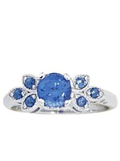 Blue Sapphire Leaf Ring