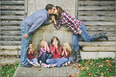 Old barn! Cute and funny family pose!