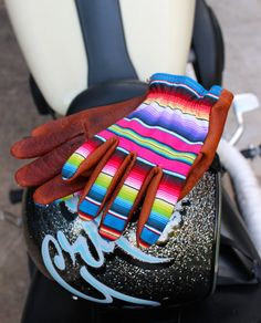 OUR GLOVES RUN SNUG SO ORDER A SIZE UP. Boom! We did it...The Bandoleros mix our classic Bison with a Mexican Serape Fabric patterned top. These gl...