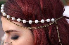 Pearl & Vintage chain Hair piece Large White Acrylic Beaded head chain, Hair jewelry, headdress, Bridal Hair idea, by LiveLoveLeaf, $22.00