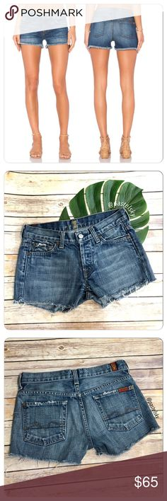 """7 FAMK cut off boy shorts PRELOVED in perfect condition, worn only a few times. minor intentional distress, cut off bottom look. button fly closure, boy fit shorts, perfect for spring and summer days!  details ・size 25  ・14.5"""" waist  ・10"""" length ・2"""" inseam ・9.5"""" leg opening  due to lighting- color of actual item may vary slightly from photos. please don't hesitate to ask questions. happy POSHing 😊  💰 use offer feature to negotiate price 🚫 i do not trade or take any transactions off…"""