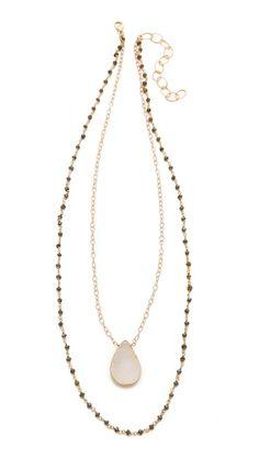 Pyrite chain with quart pendant.  Heather Hawkins Layer Gemstone Necklace