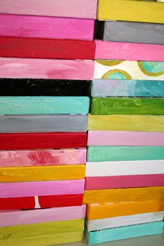 my studio: stack 'em up. 8x8 completed canvas designs #shellykennedy #drooz_studio