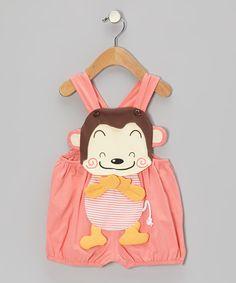 Pink Monkey Shortalls - Infant