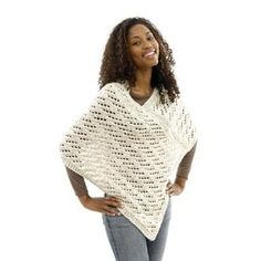 Lace Poncho in Lion Brand Wool-Ease Chunky - 40461 | Knitting Patterns | LoveKnitting