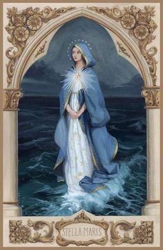 Mary Star of the Sea – The Catholic Illustrators Guild Mama Mary, Religious Icons, Religious Art, Religious Images, Blessed Mother Mary, Blessed Virgin Mary, Catholic Art, Catholic Saints, Hail Holy Queen