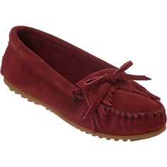 MINNETONKA MOCCASIN Kilty Moc Deep Red Suede ❤ liked on Polyvore