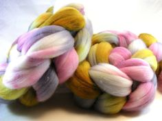 Merino Combed Top - 4.1 oz - Ballroom - Wool Roving - Pink Taupe Gray Yellow Charcoal White - Spinning Fiber - Lot # HFAF-140037