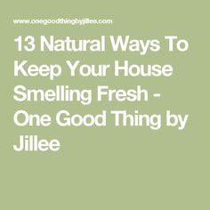 13 Natural Ways To Keep Your House Smelling Fresh - One Good Thing by Jillee