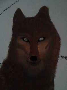 Wolf painting on wall (half finished)