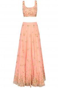 Coral Zari Embroidered Sequinned Lehenga Set #embroidered #lehengaset #sequin #asthanarang #perniaspopupshop #shopnow