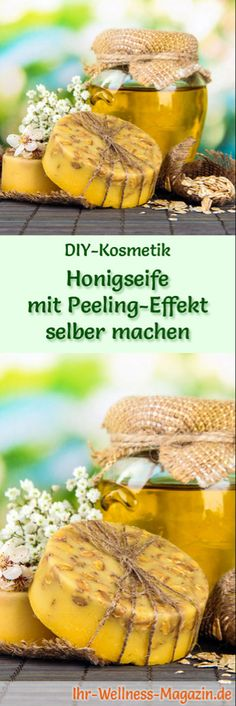 Do-it-yourself honey soap with peeling effect - soap recipe .- Making soap – soap recipe: DIY honey soap with peeling effect – it gently cleanses the skin and provides a refreshing peeling effect, … - Advantages Of Green Tea, Diy Beauté, Skin Care Masks, Hair Care, Honey Soap, Homemade Soap Recipes, Recipe Instructions, Home Made Soap, C'est Bon