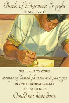 Nephi was more than a simple writer. Nephi intricately quotes Isaiah in what first seems to be his own words, but proves to be a literacy talent many wouldn't have at that time, including Joseph Smith. Learn more at http://www.knowhy.bookofmormoncentral.org/content/whom-did-nephi-quote-in-1-nephi-22  #isaiah #bookofmormon #lds #mormon