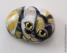 Желто-черный котёнок - ручная роспись,интерьерное украшение,миниатюра