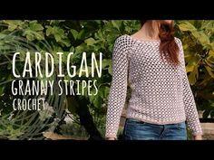 Tutorial Easy Crochet Cardigan - Granny Stripes - YouTube