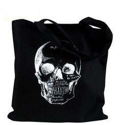 Canvas Purse, Canvas Handbags, Canvas Tote Bags, Tote Handbags, Canvas Totes, Black Handbags, Tatto Skull, Skull Art, Skull Decor