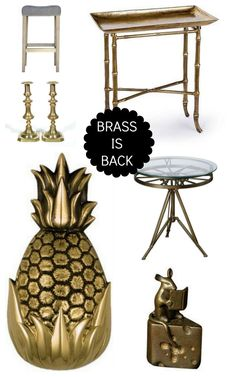 Brass is Back. From front door knockers and candlesticks to side tables and chic hardware, brass is taking a front row seat.
