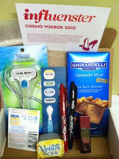 Cosmo Voxbox 2012 Venus razor, info card,coupon, and refill. Two Pilot Frixon pens. One Ghirardelli, sea salt escape bar. One Forever Red perfume sample.
