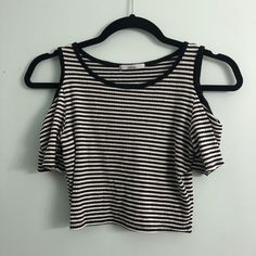 bb69fd3320d Listed on Depop by brookeosaurr. Acemi Black and White Striped Crop ...