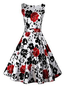 Para Women's Vintage/Sexy/Casual/Print/Cute/Party Round Slee... – USD $ 21.99