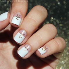 White and Gold Nail Art [TUTORIAL]