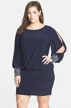 Plus Size Women's Xscape Matte Jersey Blouson Dress with Beaded Cuffs