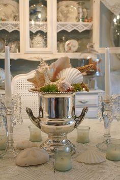 champagne bucket centerpiece shells and sterling silver:) Bucket Centerpiece, Shell Centerpieces, Coastal Style, Coastal Decor, Coastal Living, Coastal Curtains, Coastal Bedding, Coastal Furniture, Modern Coastal