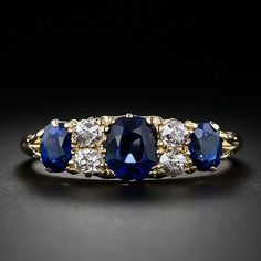 Antique English Sapphire and Diamond Ring - 30-1-4114 - Lang Antiques $4,750.. This appeals to me too!
