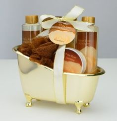 Wedding gift:White Rose Jasmine Gold Tub Spa Bath Gift Set