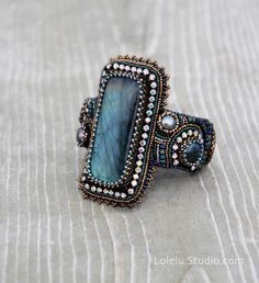 Bead Embroidered Cuff Bracelet with Labradorite Cabochon by LoLeLu
