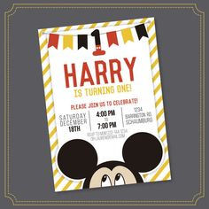 OFF SALE Mickey Mouse Invitation - Mickey Mouse Clubhouse Invitation - Mickey Mouse Invitation - Mickey Invitation - Printable by Stickearte Mickey First Birthday, Mickey Birthday, Boy Birthday, Birthday Ideas, Birthday Parties, Mickey Mouse Centerpiece, Mickey Mouse Cupcakes, Mickey Cakes, Mouse Cake